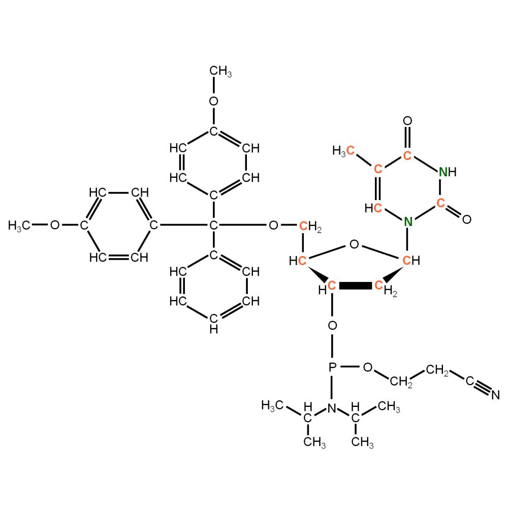13C15N-labeled dT Phosphoramidite (uniformly labeled)